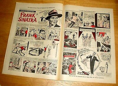Frank Sinatra Comic Strip History Double Page Centrefold From A 1964 Magazine