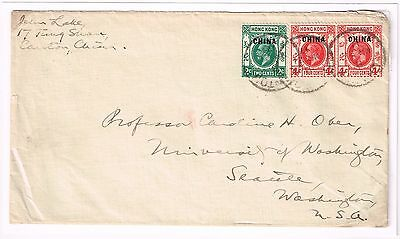 Hong Kong Treaty Port GB Offices In China Overprint Canton Mar 21 1917 Cover