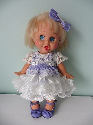 Pixies Hand Made: Dress/ Bloomers/bow/shoes:  For Galoob Baby Face Doll
