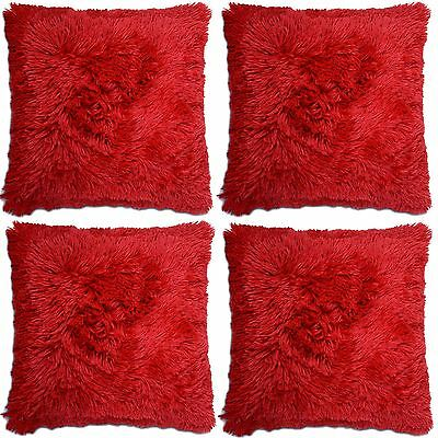 4 x Super Soft Red Faux Fur Cushion Covers Cuddly Shaggy 43x43cm