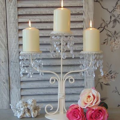 Cream Metal Candelabra Vintage Wedding Jewel Shabby Table Chic Home Accessory