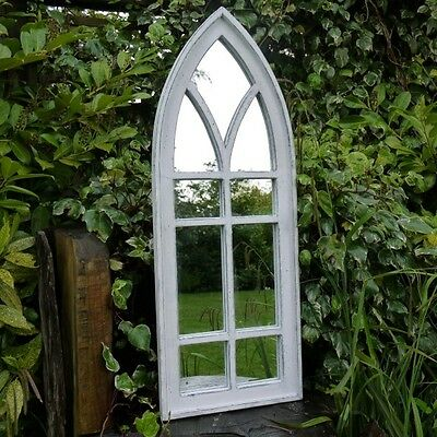 Tall White Arched Window Wall Mirror Shabby Vintage Chic Rustic Garden Decor