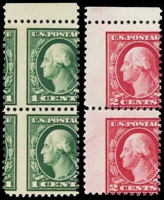 498, 499, Mint Misperforated ERROR Pairs of Washington Stamps - Stuart Katz