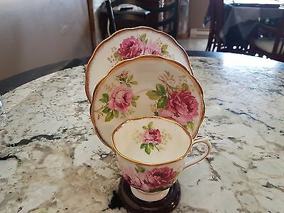 """Royal Albert """"american Beauty"""" Footed Cup Saucer Plate Trio #1"""
