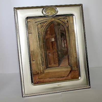ANTIQUE ITALIAN SILVER & WOOD 50th PHOTO FRAME WITH VICTORIAN WATERCOLOUR GC