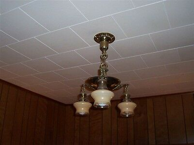 Antique Polished Brass Ceiling Light Fixture Chandelier with 3 shades