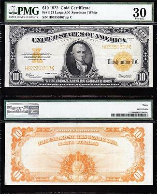 AWESOME Bold & Crisp VF+ 1922 $10 *GOLD CERTIFICATE*! PMG 30! FREE SHIP 83350307