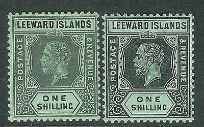 Leeward Islands 1912 black/green 1/- black/green white back 1/- mint SG54/54a
