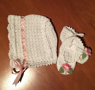 NEW Handmade Baby Crochet Lace 100 % Cotton White Bonnet & Booties Set 0-3 M