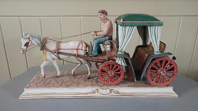 Enchanting Italian Large Vintage Capodimonte Porcelain Coach and Horse by Conte