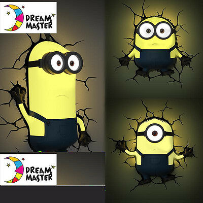 Despicable Me Minions Bob 3D Deco Led Night Light Wall Mounted Design Kids Gift
