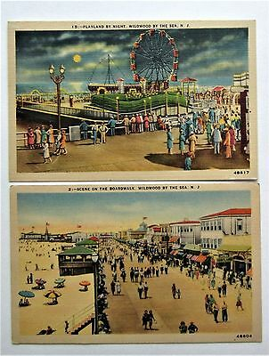 Lot (2) Linen WILDWOOD by the SEA Playland Amusement Beach Postcards