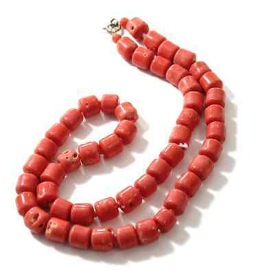 """Vintage Coral Bead Necklace Salmon Colored Strand 24"""""""