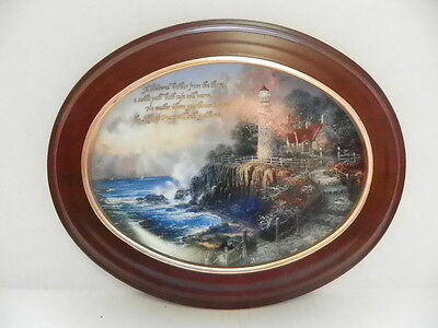 Thomas Kinkade The Light Of Peace Lighthouse Plate & Van Hygan Smythe Wood Frame