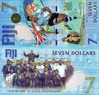 FIJI 7 Dollars Banknote World Money Polymer UNC Currency Pick p-New 2017 Rugby 7