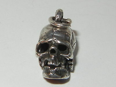 Skull Charm Movable Jaw Vintage Sterling Silver 925 Articulated Memento Mori 3d