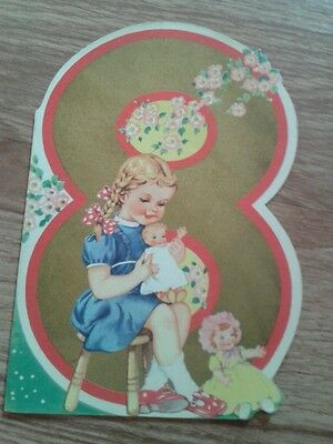 Vintage birthday card for eight year old. Dolls dollies. British