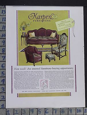 1927 Karpen Furniture Couch Chair Living Room Home Decor Vintage Art Ad Dp01