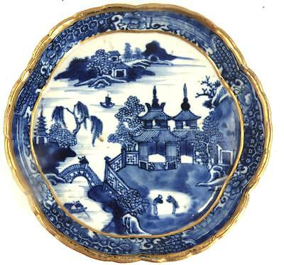 18Th Century Chinese Qianlong Porcelain Blue & White Teapot Stand Gilt Trim