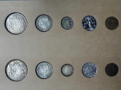 1945 & 1946 Canada Silver Year Sets In Vintage Holder!!