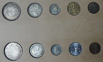 1943 & 1944 Canada Silver Year Sets In Vintage Holder!!