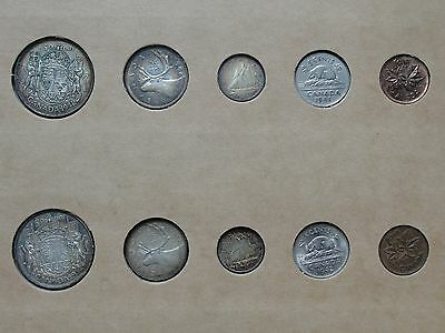 1941 & 1942 Canada Silver Year Sets In Vintage Holder!!