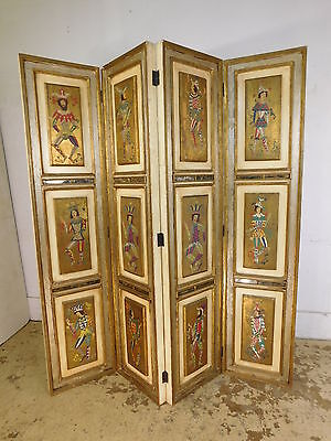 Mid Century Hollywood Regency Artist Painted Harlequin Joker Room Divider Screen