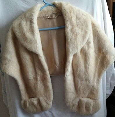 Genuine vintage 1930s/1940s cream fur stole jacket