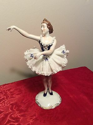 "Beautiful 8"" Dresden Lace Porcelain Germany Dancer Figurine / Karl-Heinz Klette"
