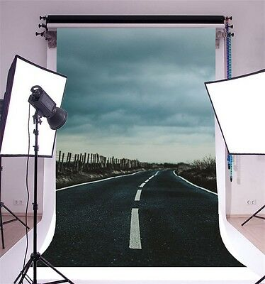 5x7ft Vinyl Photography Wall Backdrop Clouded Road Studio Photo Background Props