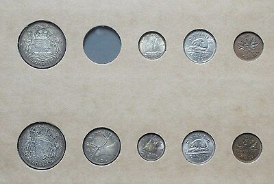1939 & 1940 Canada Silver Year Sets In Vintage Holder!! * No 1939 Quarter *