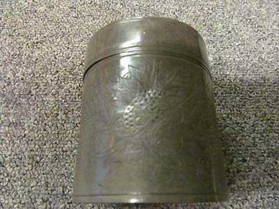 Vintage Pewter Container  3.5 ins  - Huikee & Swatow -  decorated bird & lizzard