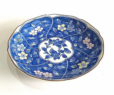 Japanese Fine Porcelain Shallow Dish Plate Blue White Floral Colour Detail