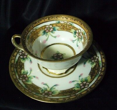 L & Co Nippon Gold Encrusted Tea Cup & Saucer Hand Painted Flowers Stunning 1910