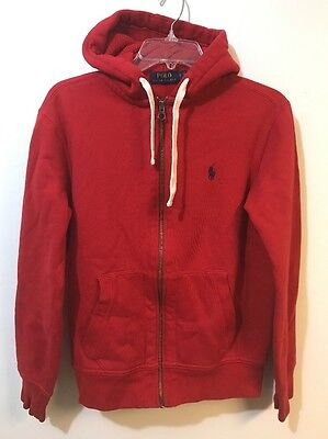 Polo Ralph Lauren Mens Small Red Zip Up Hoodie *Flaws*