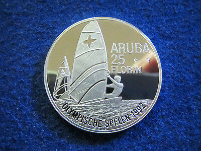 1992 Aruba Silver Proof 25 Florin - Windsurfer - Gem - Free U S Shipping