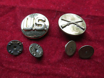 WW2 US Military Army Enlisted Infantry Collar Brass Insignia Pins Disc Rifles