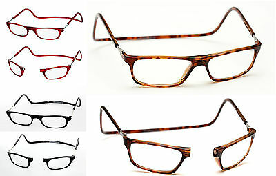 +1.50 Magnetic Reading Glasses Click Close Tortoiseshell Hornrim Brown +1.50