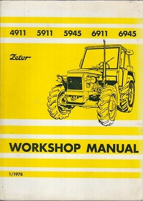 Zetor 4911 5911 5945 6911 & 6945 Tractor Original 1978 Factory Workshop Manual