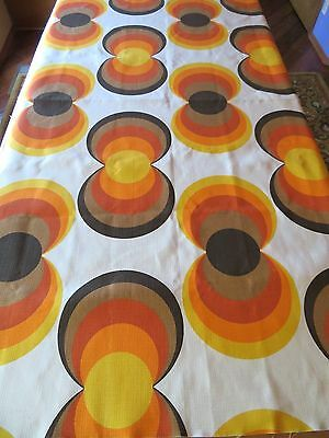 VTG 60's 70's POP OP ART GEOMETRIC CIRCLES CANVAS UPHOLSTERY FABRIC, PANTON ERA