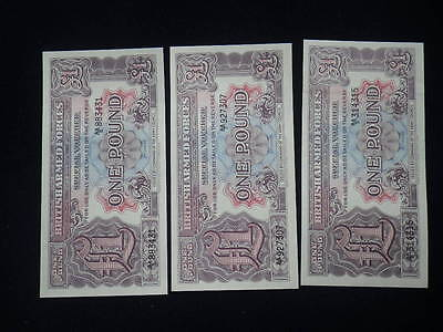 ** British Armed Forces One Pound Banknotes x 3 (aUnc)