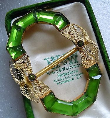 Antique Victorian Signed Czech Big Green Glass Filigree Sash Buckle Estate Lot