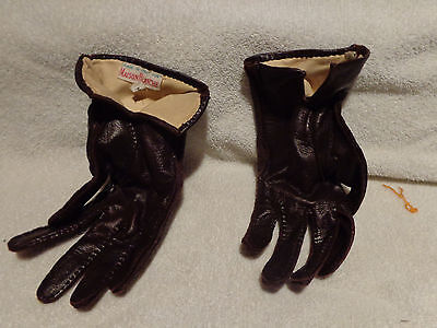 Maison Blanche Leather/ Nylon Ladies Gloves Size M Brown