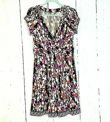 ECI New York Womens 8 Abstract Multi Floral Dress Ruched V-Neck Slinky Stretch