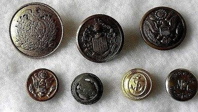 Vintage Military Police Metal Buttons Lot of 7
