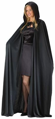 "Long Floor Length 68"" Black Hooded Cape Vampire Gothic Cosplay"