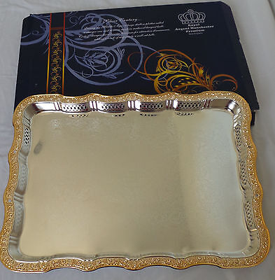 Luxury serving tray with chrome and golden color