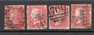 4 Used Queen Victoria 1d Red Plates All Are Perfins See Scans For Full Detail