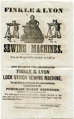 Sewing Machines Finkle & Lyon New York City 1860s Advertisement Handbill Flyer