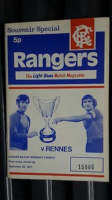 Rangers V Rennes European Cup Winners' Cup First Round 1971-72
